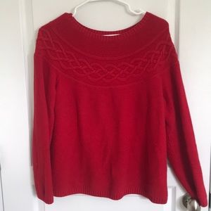 Talbots Red Cable Sweater Large